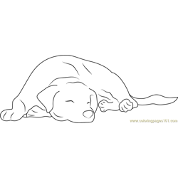 Lazy Dog Free Coloring Page for Kids