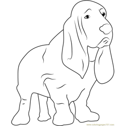 Nervous Dog Free Coloring Page for Kids