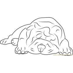 Sleeping Bull Dog Free Coloring Page for Kids