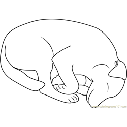 Sleeping Out Dog Free Coloring Page for Kids