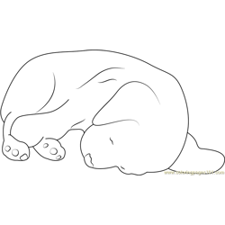 Sleepy Dog Free Coloring Page for Kids