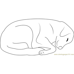 Tired Dog Free Coloring Page for Kids