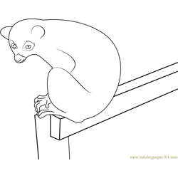 Lemur Sitting on Gate Free Coloring Page for Kids