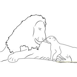 African Tanzania Lion Free Coloring Page for Kids