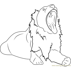 Lion Howling Free Coloring Page for Kids