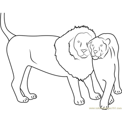 Lion Loves Each Other Free Coloring Page for Kids