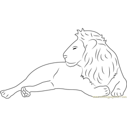 Lion Relaxing Free Coloring Page for Kids