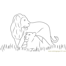 Two Lions Free Coloring Page for Kids
