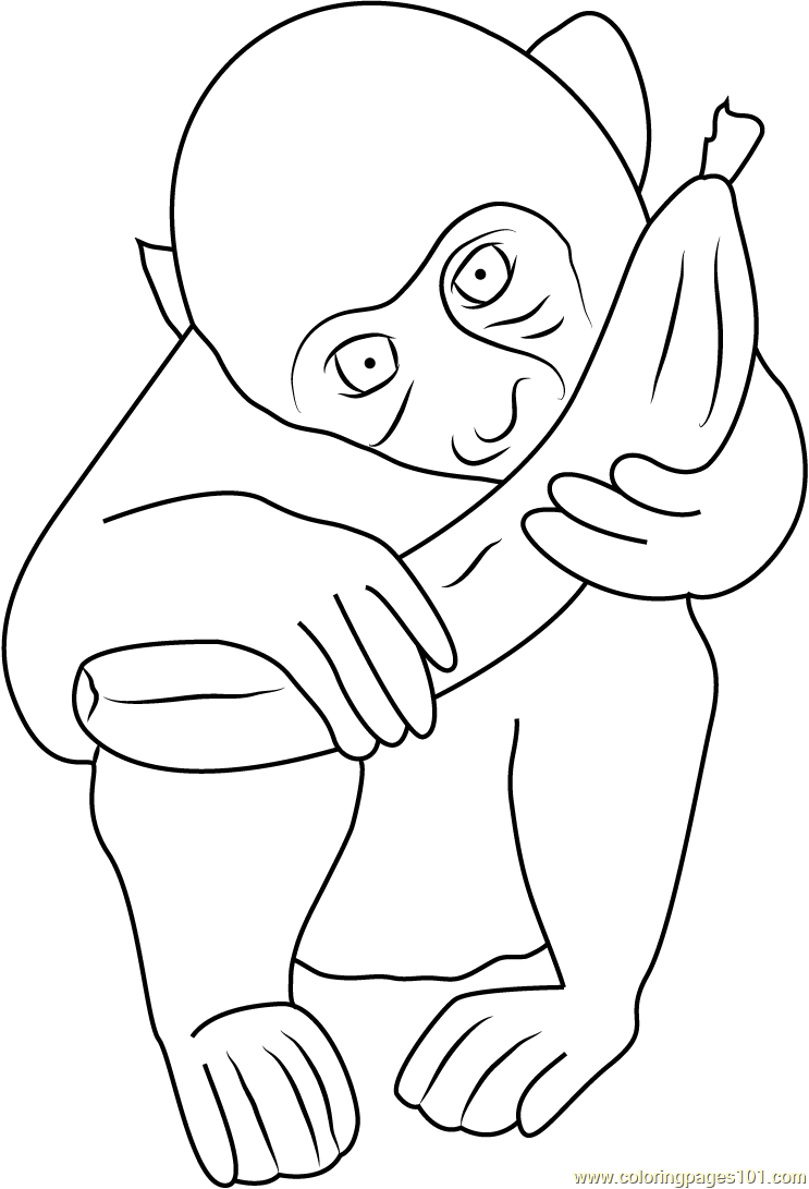 Baby Monkey Eating Coloring Page