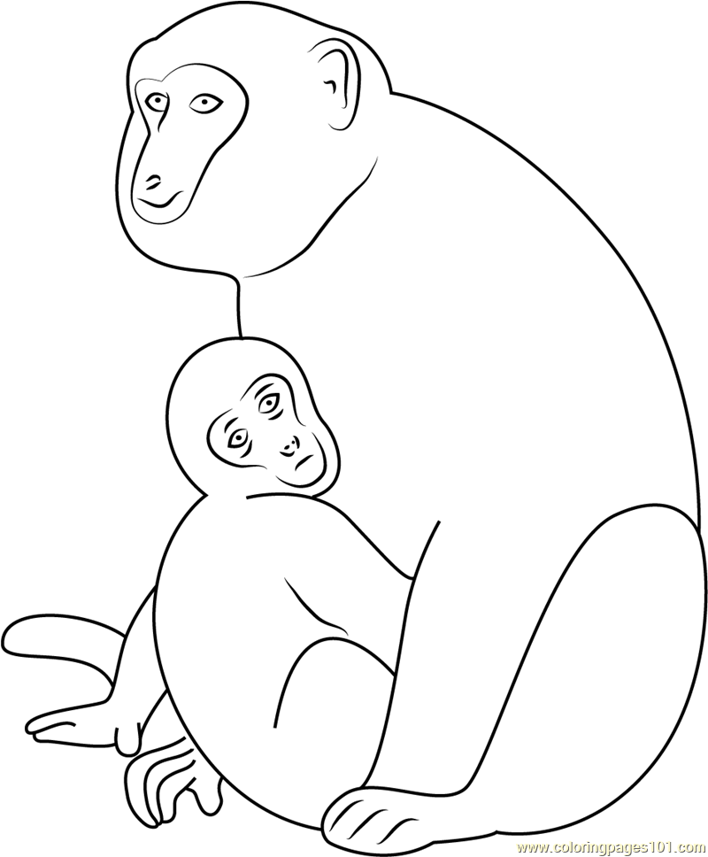 Monkey and Son Coloring Page