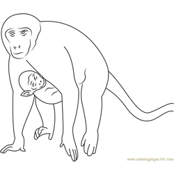 Monkey and Son Run Free Coloring Page for Kids