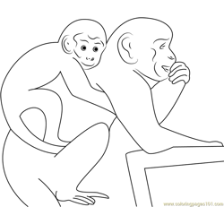 Monkey on Mom Free Coloring Page for Kids