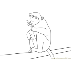 Nervous Monkey Free Coloring Page for Kids