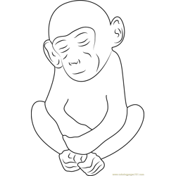 Sleeping Monkey See Free Coloring Page for Kids