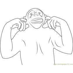 Smiling Monkey Free Coloring Page for Kids