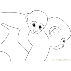 Monkey and Son Run Coloring Page Free Monkey Coloring