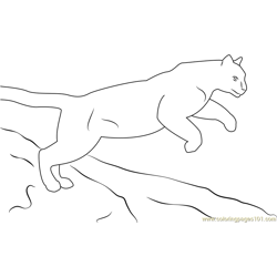 Jumping Panther Free Coloring Page for Kids