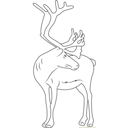 Reindeer Free Coloring Page for Kids