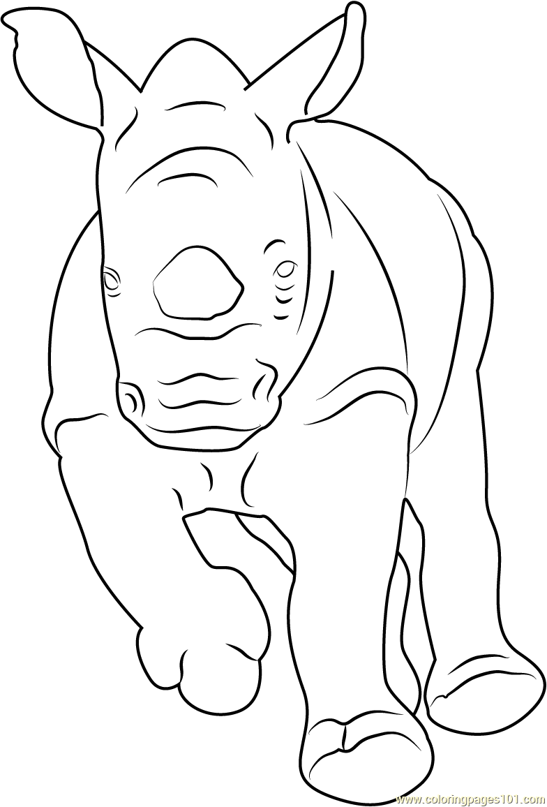 Baby Rhino Running Coloring Page