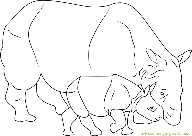 Baby Rhino With Her Mother Coloring Page Free Rhinoceros