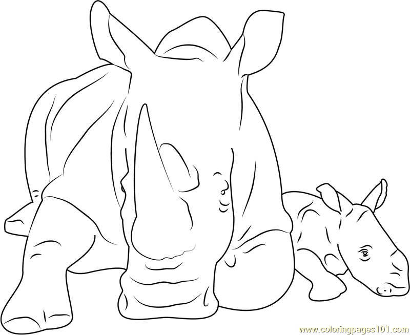 Cute Rhino Coloring Page