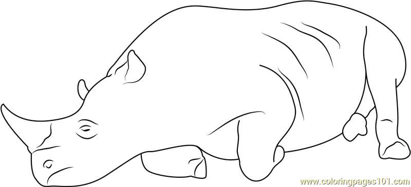 Realxing Rhino Coloring Page