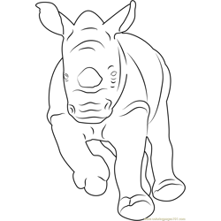 Baby Rhino Running Free Coloring Page for Kids
