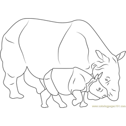 Baby Rhino With Her Mother Free Coloring Page for Kids