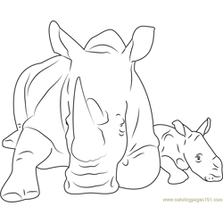 Cute Rhino Free Coloring Page for Kids