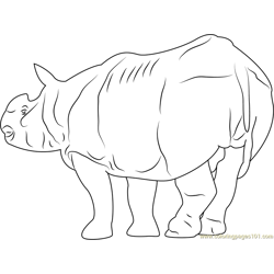 Fat Rhino Free Coloring Page for Kids