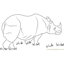 One Horned Rhino Free Coloring Page for Kids