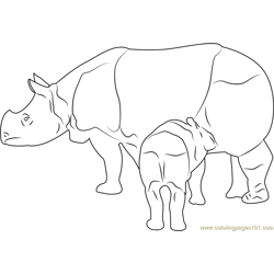 Panzernashorn Baby Drink Milk Free Coloring Page for Kids