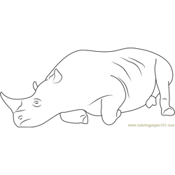 Realxing Rhino Free Coloring Page for Kids