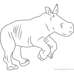 Rhino Baby Free Coloring Page for Kids