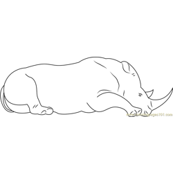 Rhino Sitting Down Free Coloring Page for Kids
