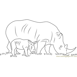 Rhino With Her Baby Free Coloring Page for Kids
