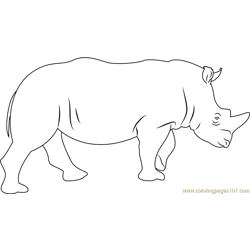 Rhino Free Coloring Page for Kids