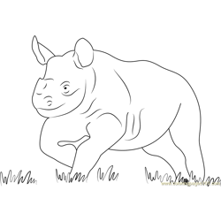 Running Baby Rhino Free Coloring Page for Kids