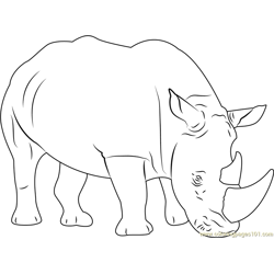 Sad Rhino Free Coloring Page for Kids