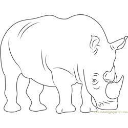 Two Horned Rhino Free Coloring Page for Kids