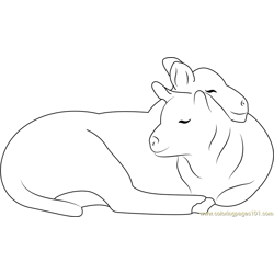 Affectionate Sheep Small Free Coloring Page for Kids