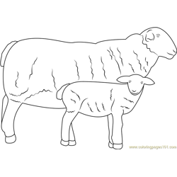 Sheep with her Baby Free Coloring Page for Kids