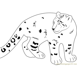 Smiling Snow Leopard Free Coloring Page for Kids