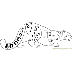 Snow Leopard Going for Hunting Free Coloring Page for Kids