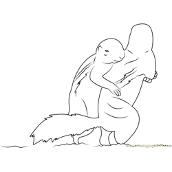 Two Squirrel Hug Each Other Free Coloring Page for Kids