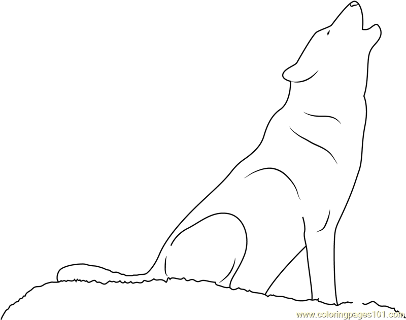 wolf howling coloring page free wolf coloring pages