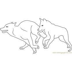 Two Wolves Running Free Coloring Page for Kids