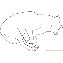 Wolf Sleeping Free Coloring Page for Kids