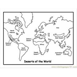 Map Of Deserts Free Coloring Page for Kids