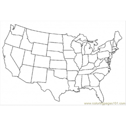 Map Of United States Of America Free Coloring Page for Kids